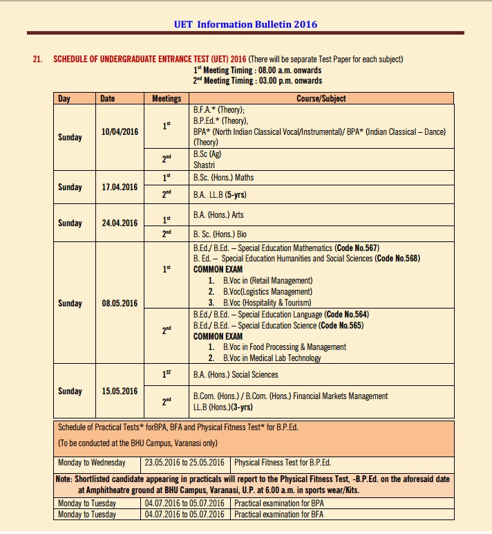 UET datesheet