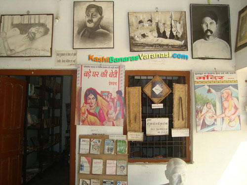 Premchand's novel posters at his memorial
